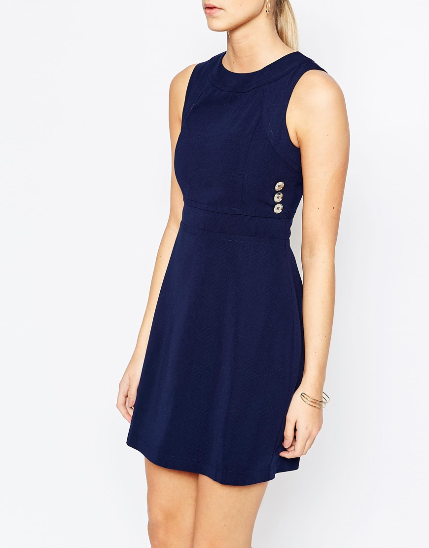Fashion Union 60 39 S Aline Shift Dress In Blue Lyst