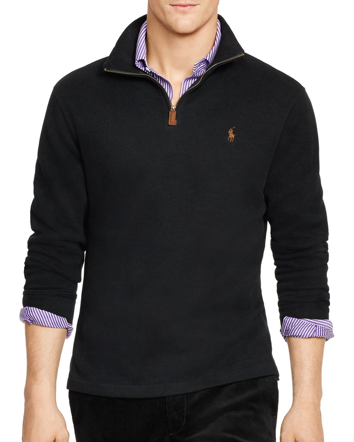 ralph lauren polo french rib half zip pullover in black. Black Bedroom Furniture Sets. Home Design Ideas