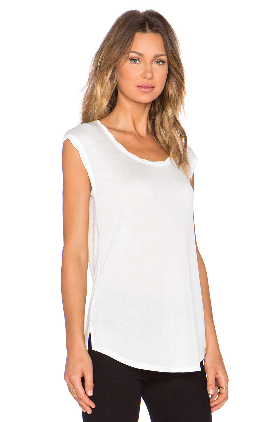 Lyst vince twisted cap sleeve tee in white for Vince tee shirts sale