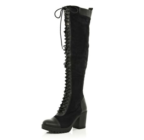 river island black block heel knee high lace up boots in