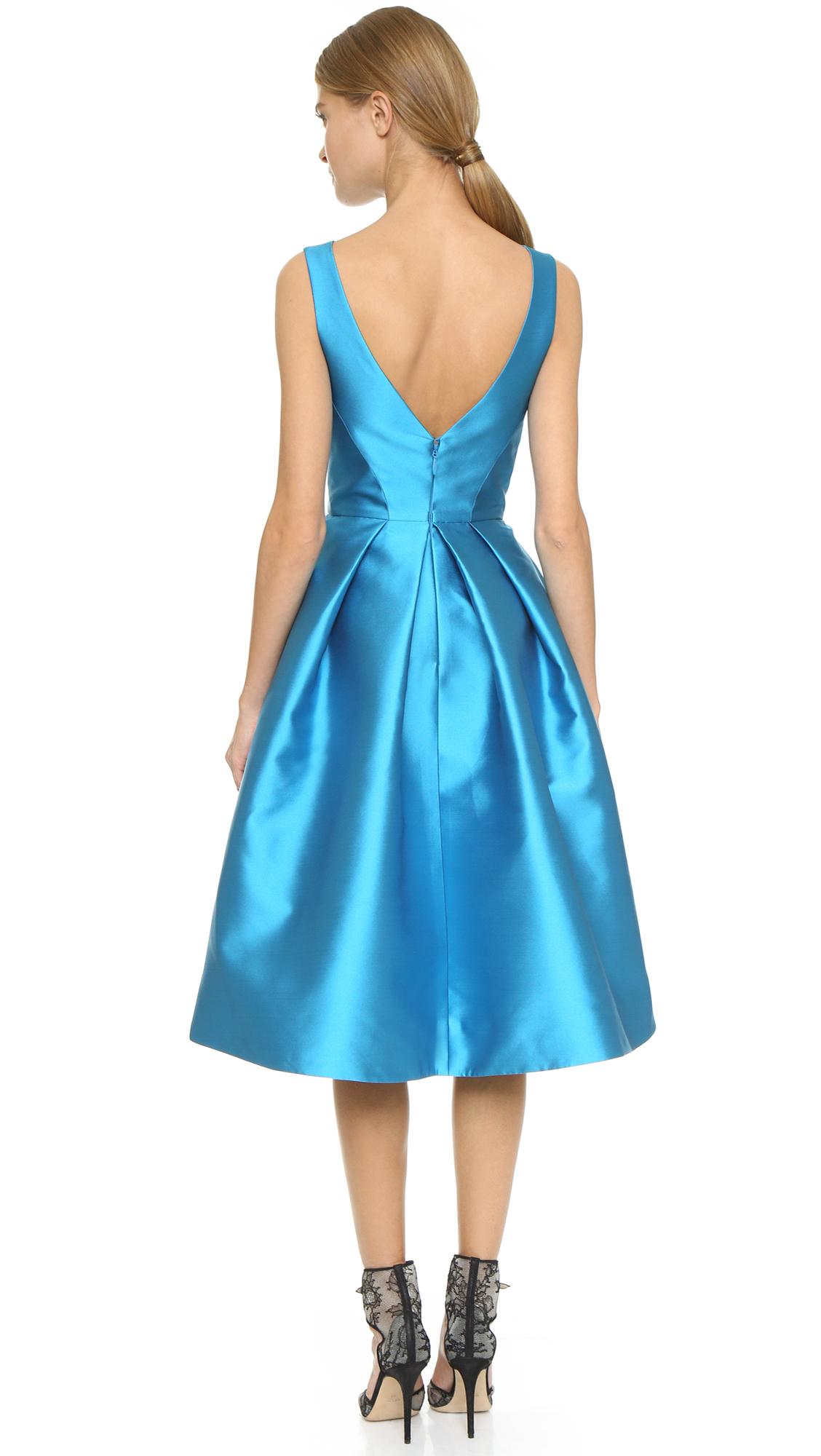 Lyst - Monique Lhuillier Structured Sleeveless Dress in Blue