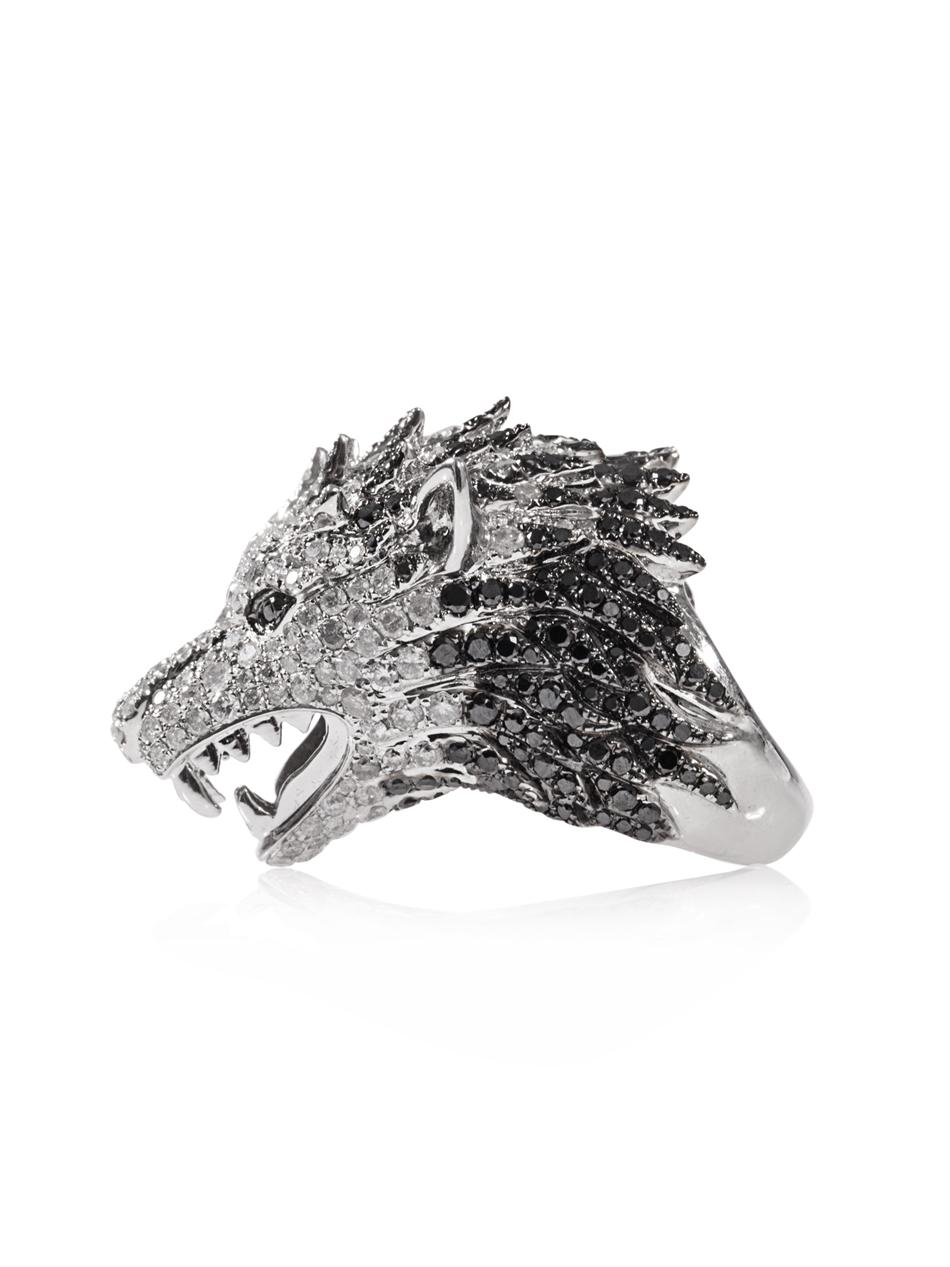Elise Dray Diamond And Whitegold Wolf Ring In Metallic Lyst
