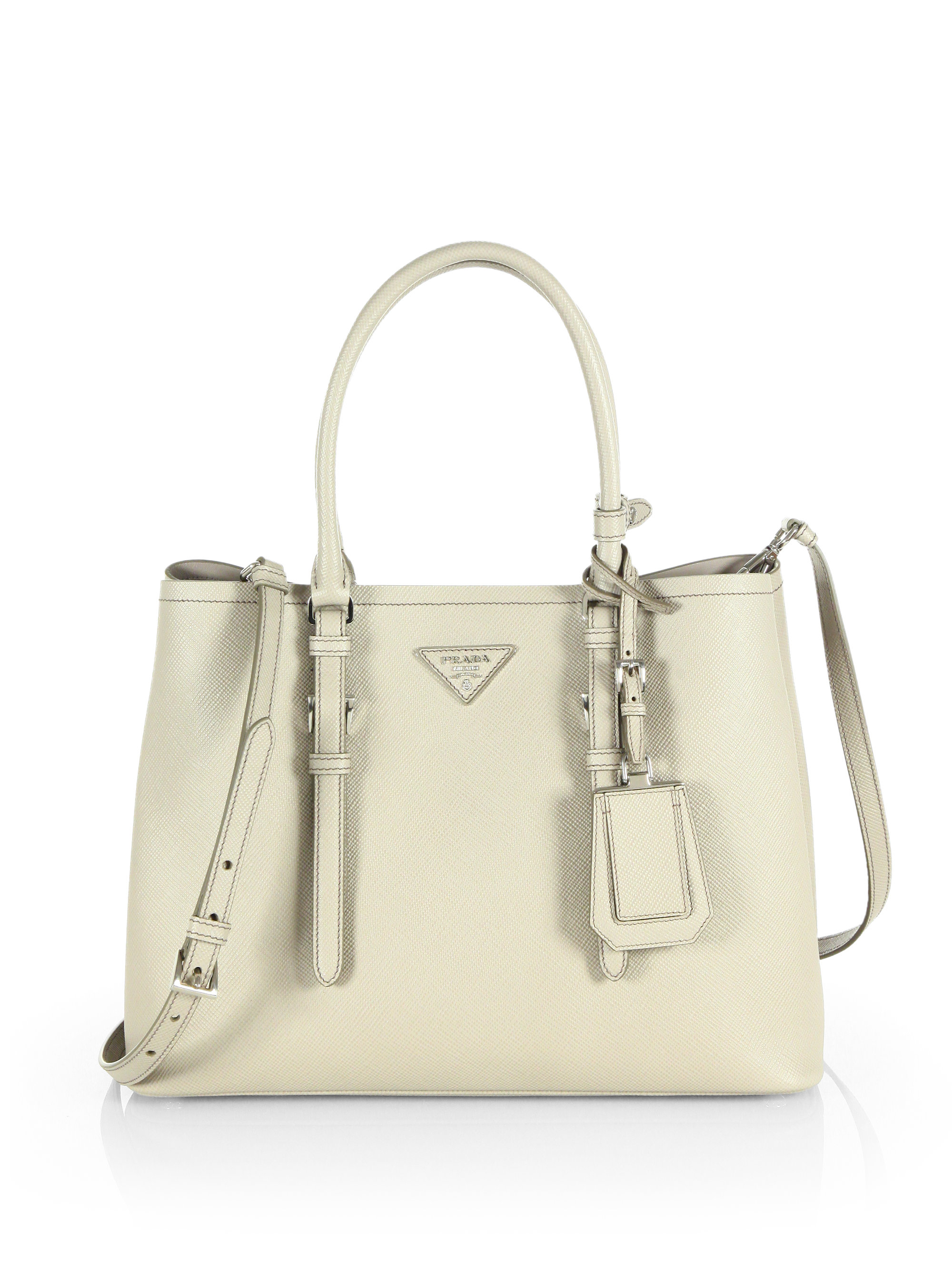 51d2a41c1 Prada White Saffiano Leather Convertible Mini Shoulder Bag in .