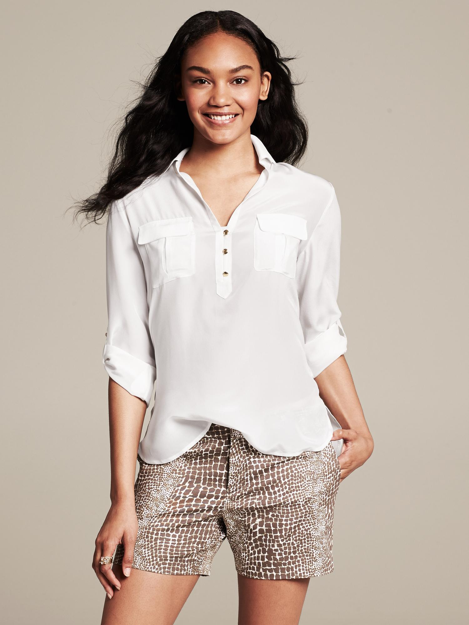 408f9240114d06 Lyst - Banana Republic Heritage Silk Roll-Sleeve Utility Blouse in White
