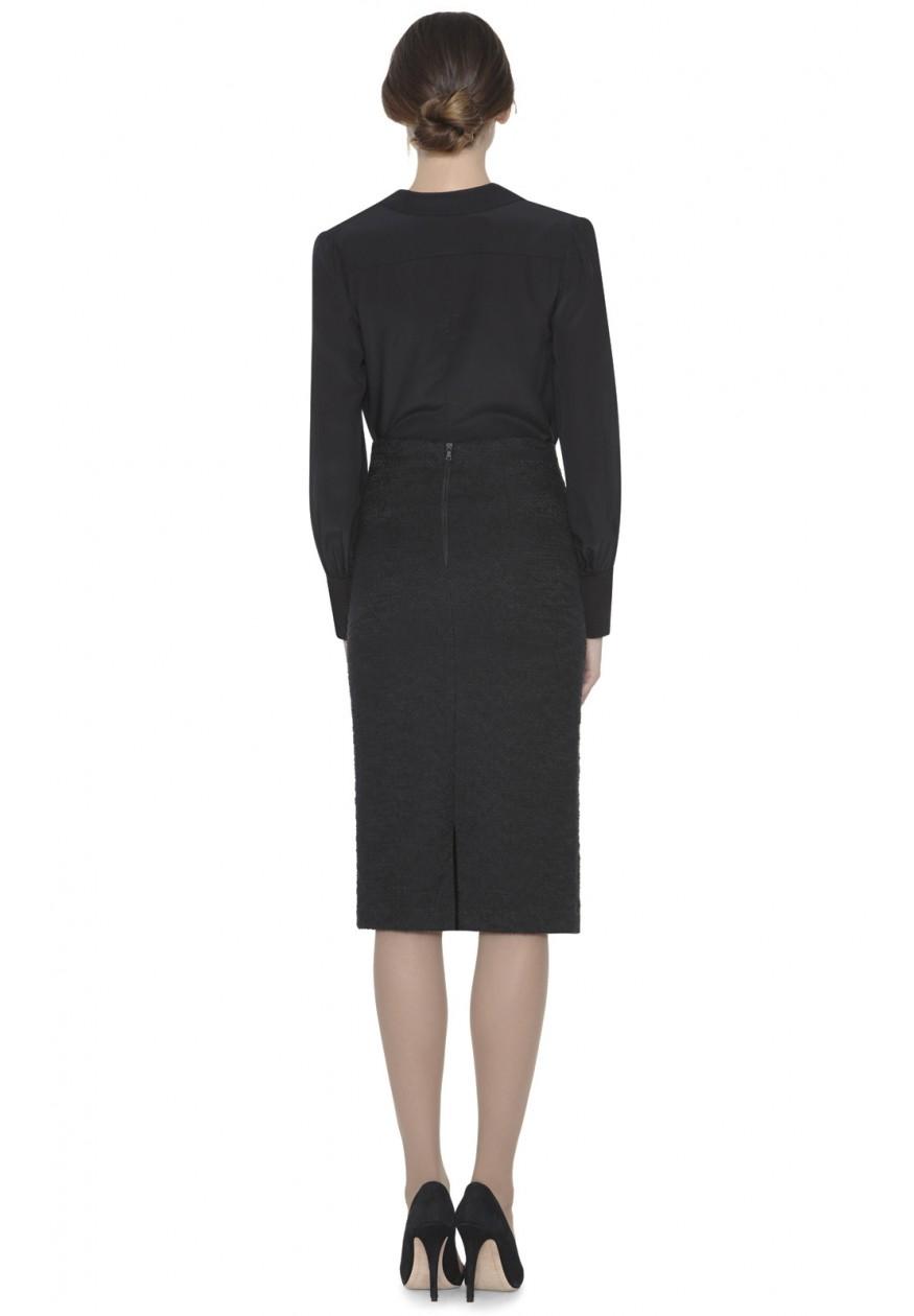 high waist mid length pencil skirt in black
