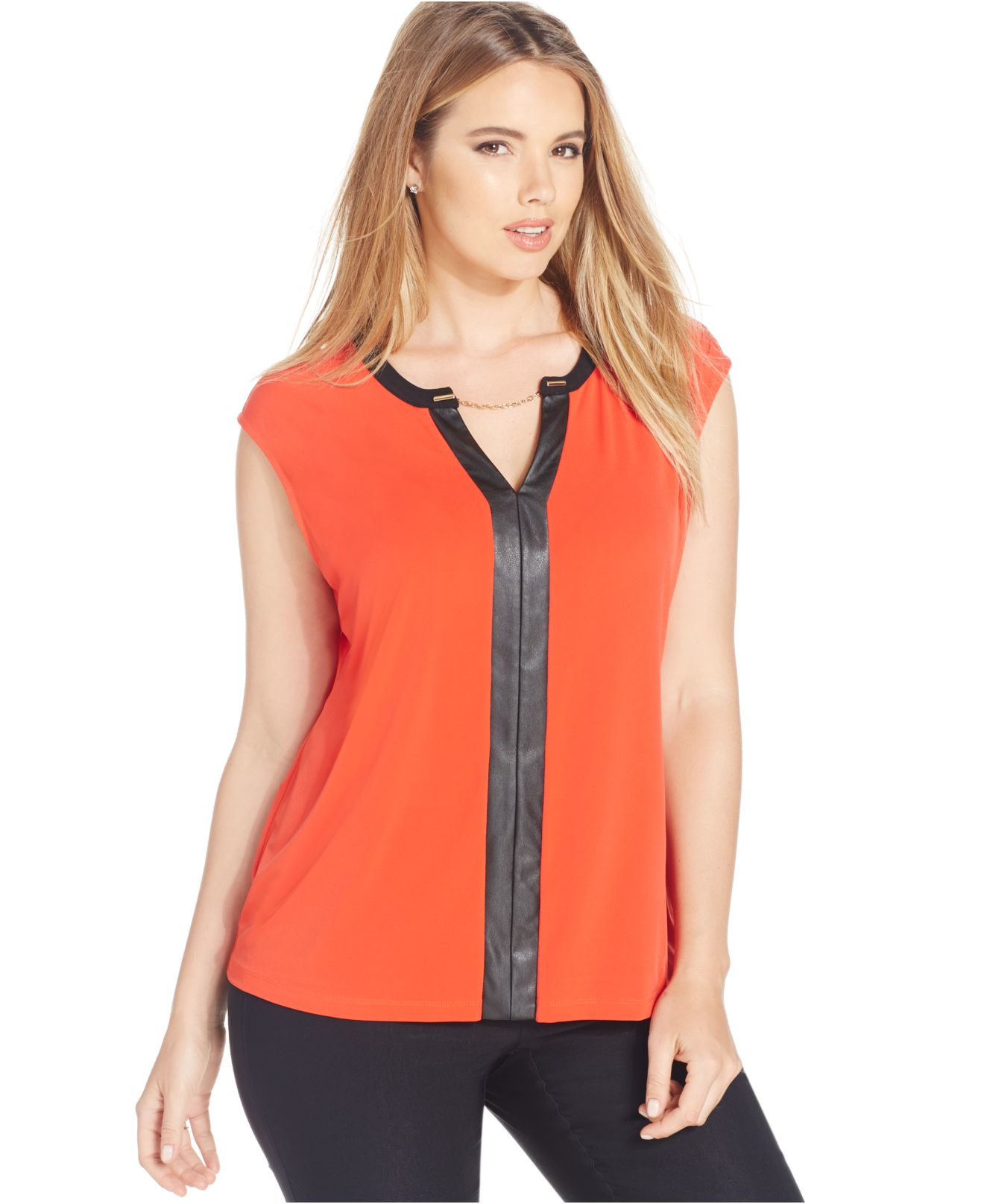68b509f24be Lyst - Calvin Klein Plus Size Sleeveless Top in Red