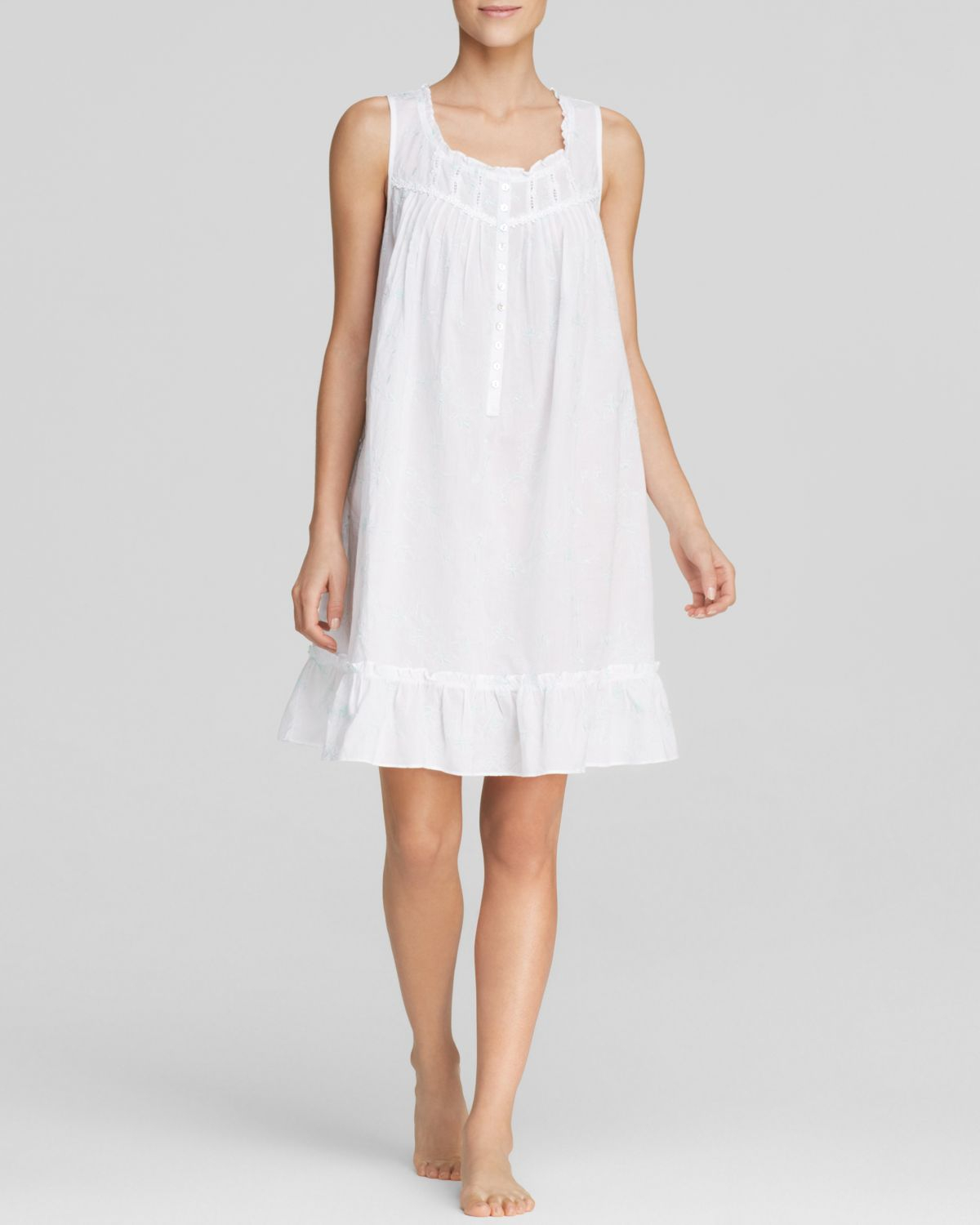 Lyst - Eileen West Lily Of The Valley Cotton Lawn Short Nightgown in ...