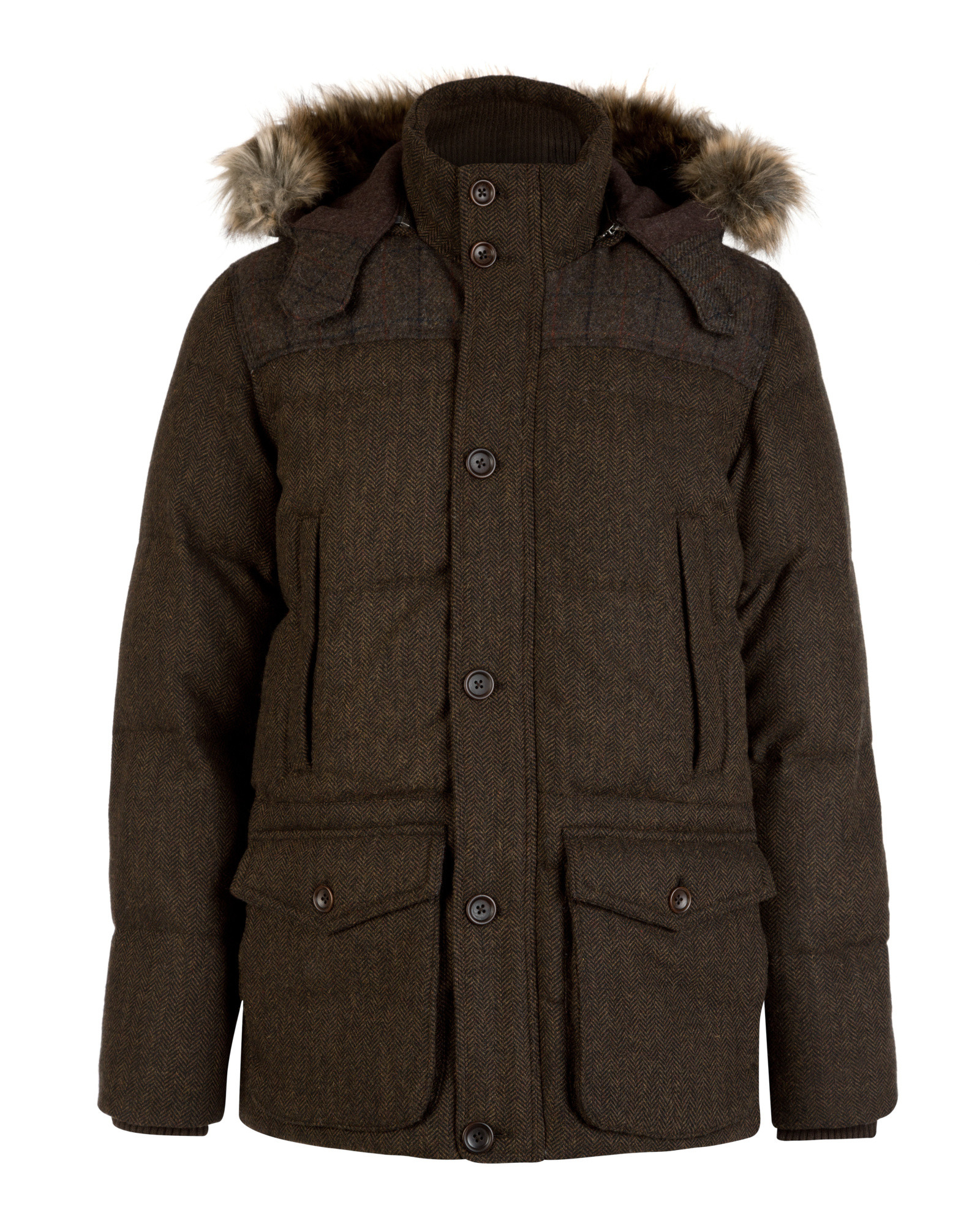 Ted baker Herringbone Puffer Coat in Brown for Men | Lyst