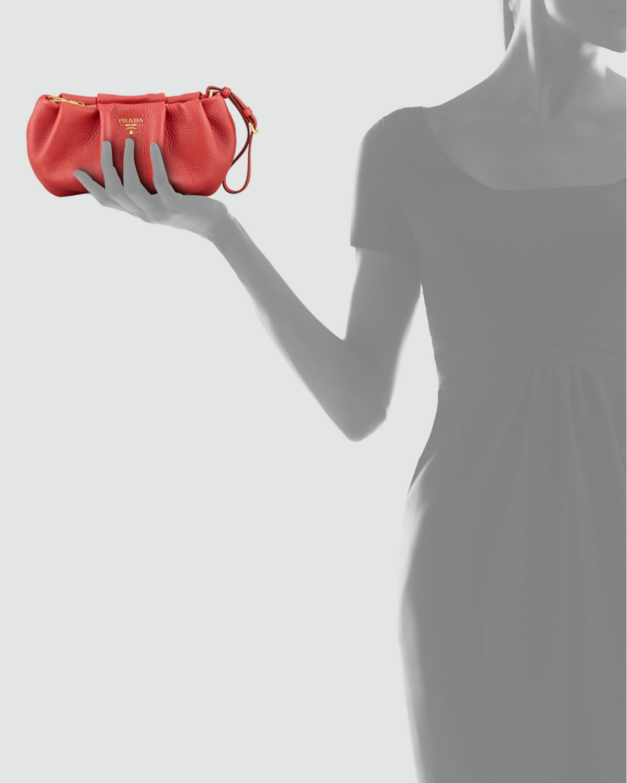 prada pink - Prada Daino Pleated Wristlet Clutch Bag in Red | Lyst