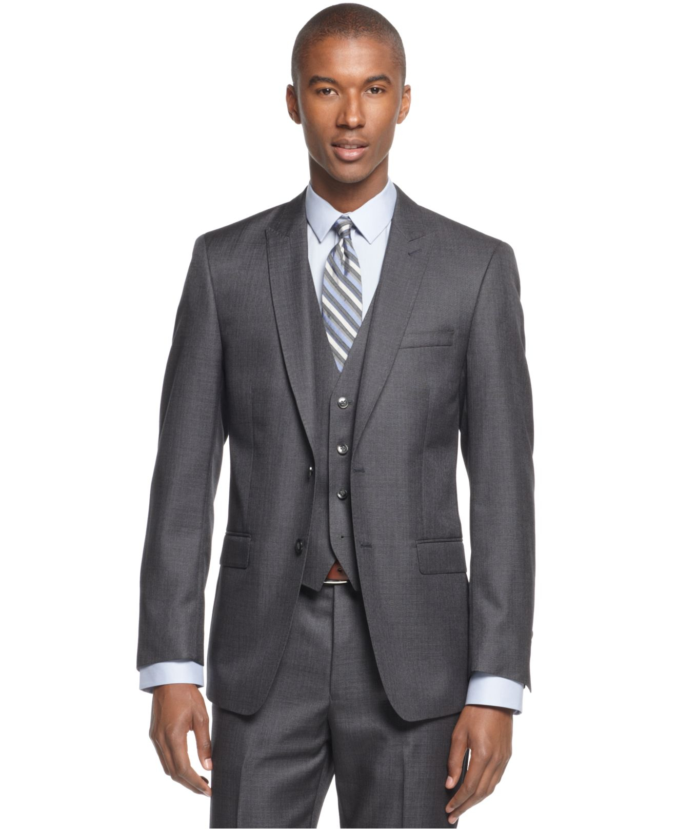 Calvin klein x big and tall grey solid vested slim fit for Calvin klein x fit dress shirt