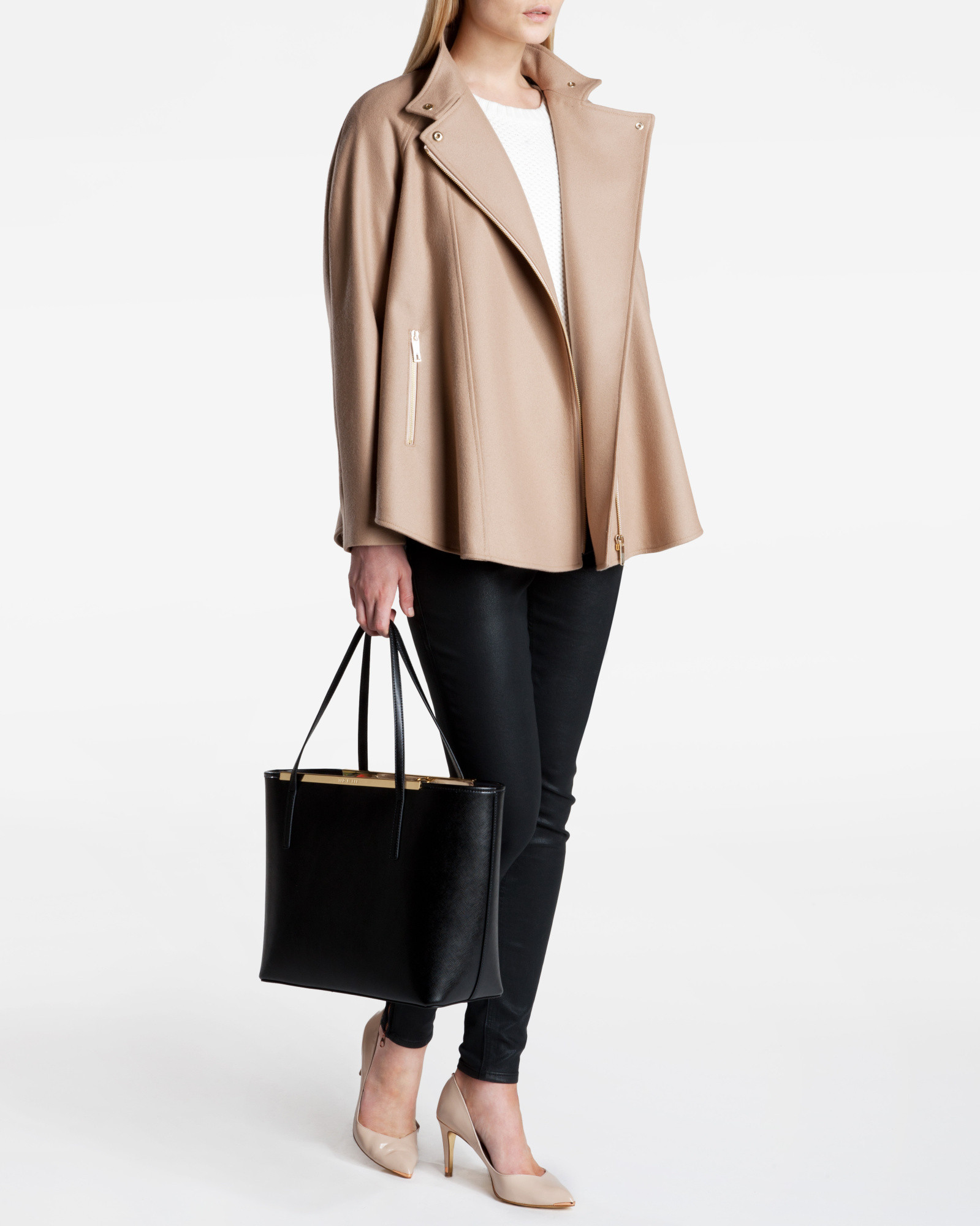 1afa610e8 Ted Baker Zip Front Cape in Brown - Lyst