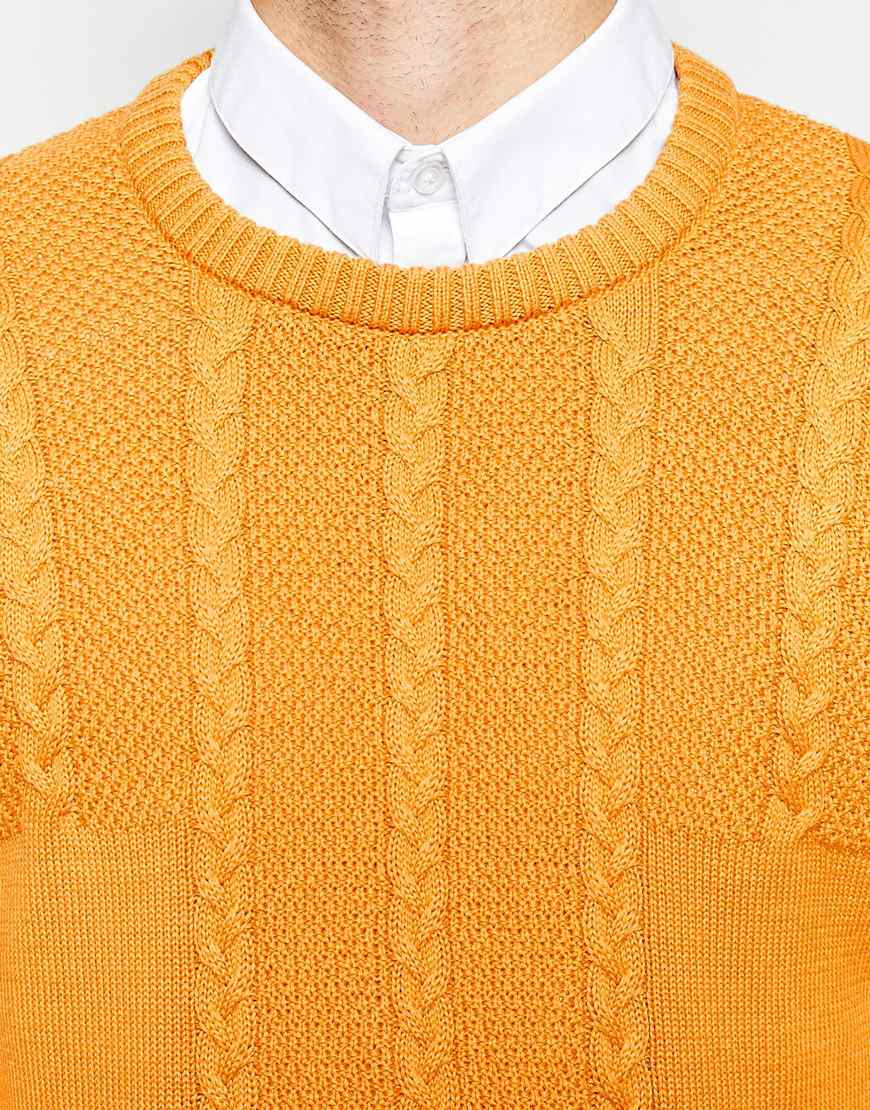 Asos Cable Jumper In Cotton in Yellow for Men | Lyst