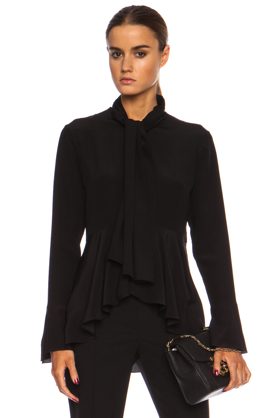 Chloé Tie Front Crepe De Chine Blouse with Ruffle Detail in Black ...