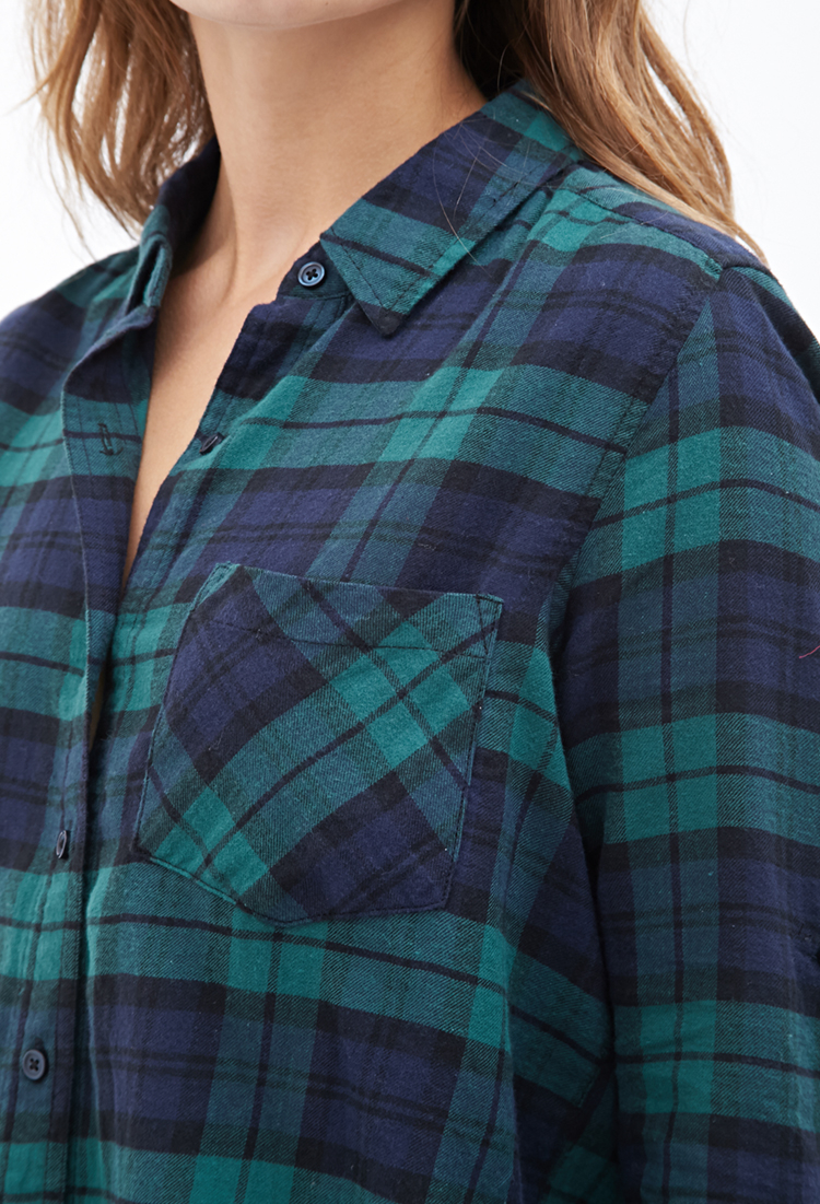 Forever 21 Collared Plaid Flannel Shirt in Green | Lyst