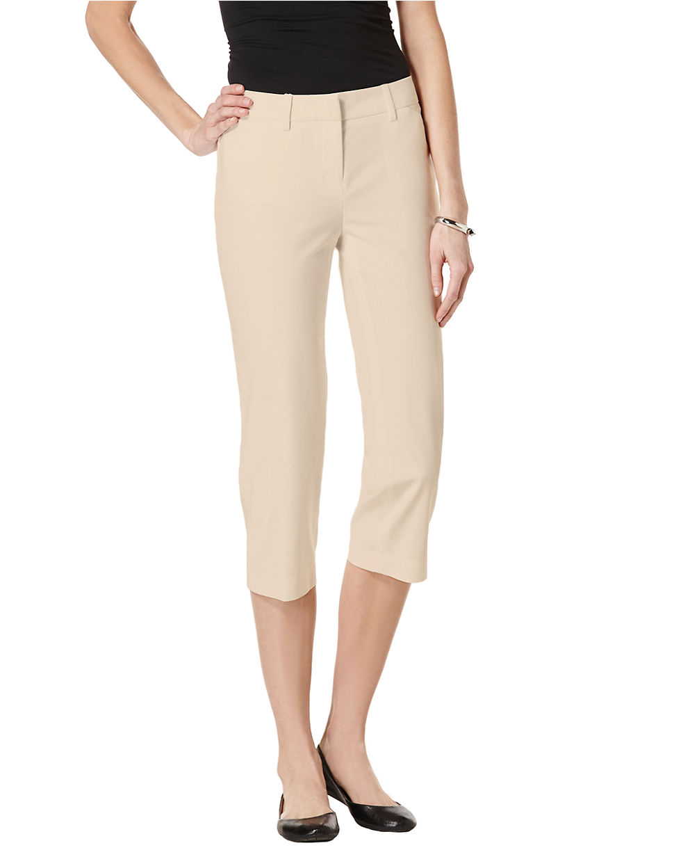 Rafaella Petite Solid Double Weave Curvy Capri Pants in Natural | Lyst