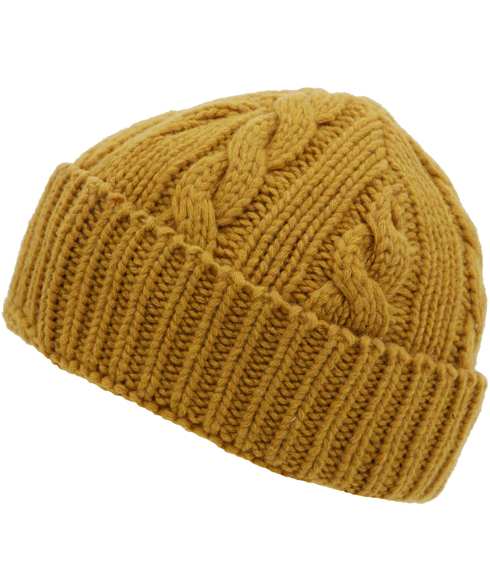 Lyst - Oliver Spencer Mustard Cable Knit Woolblend Beanie Hat in ... ec271dcd4c4