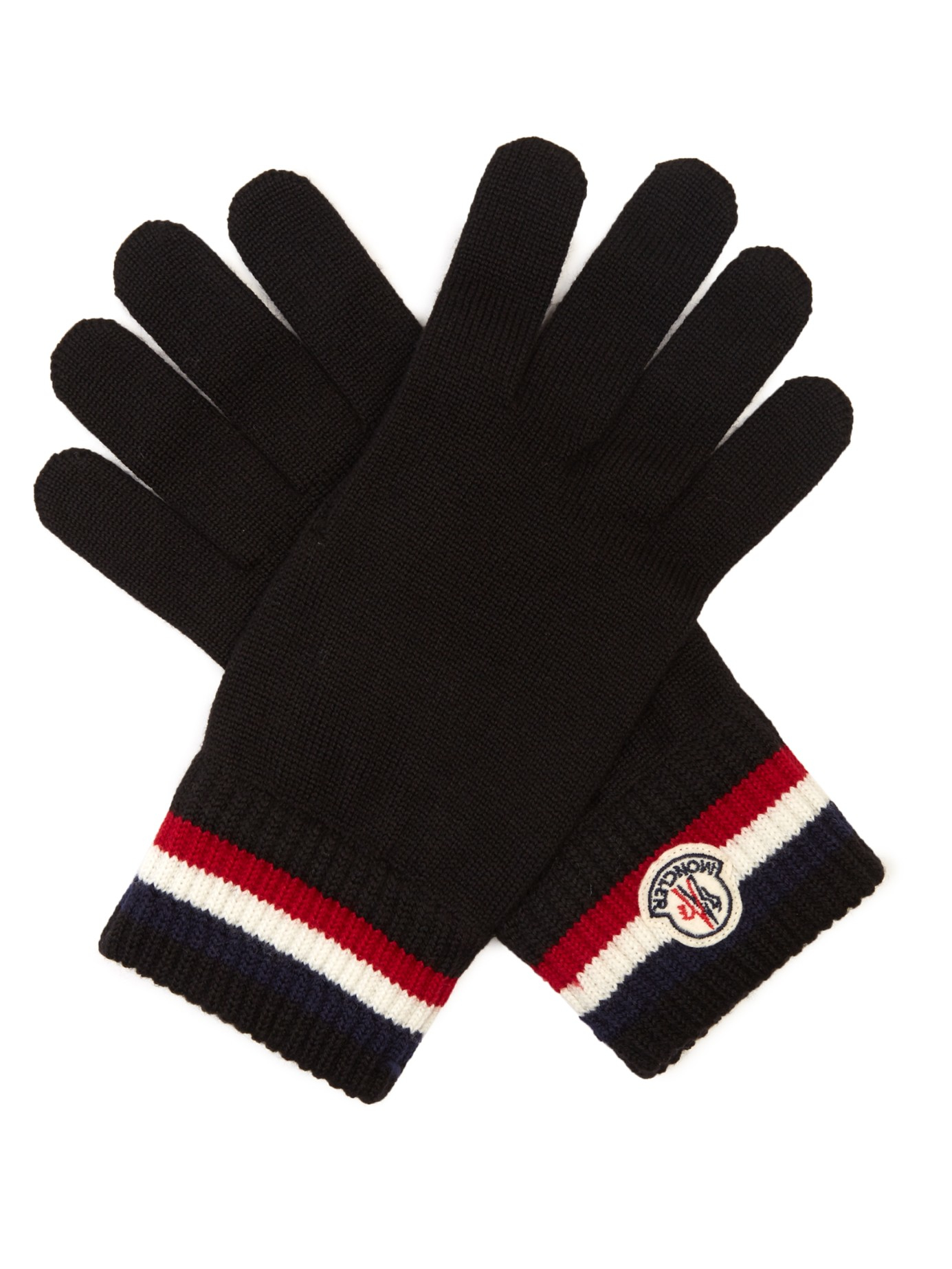 6c55ae4108f7 Lyst - Moncler Virgin-Wool Knit Gloves in Black for Men