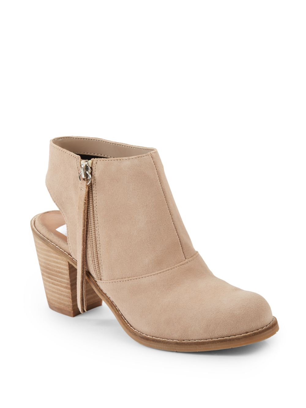 dolce vita jemima cutout suede ankle boots in beige