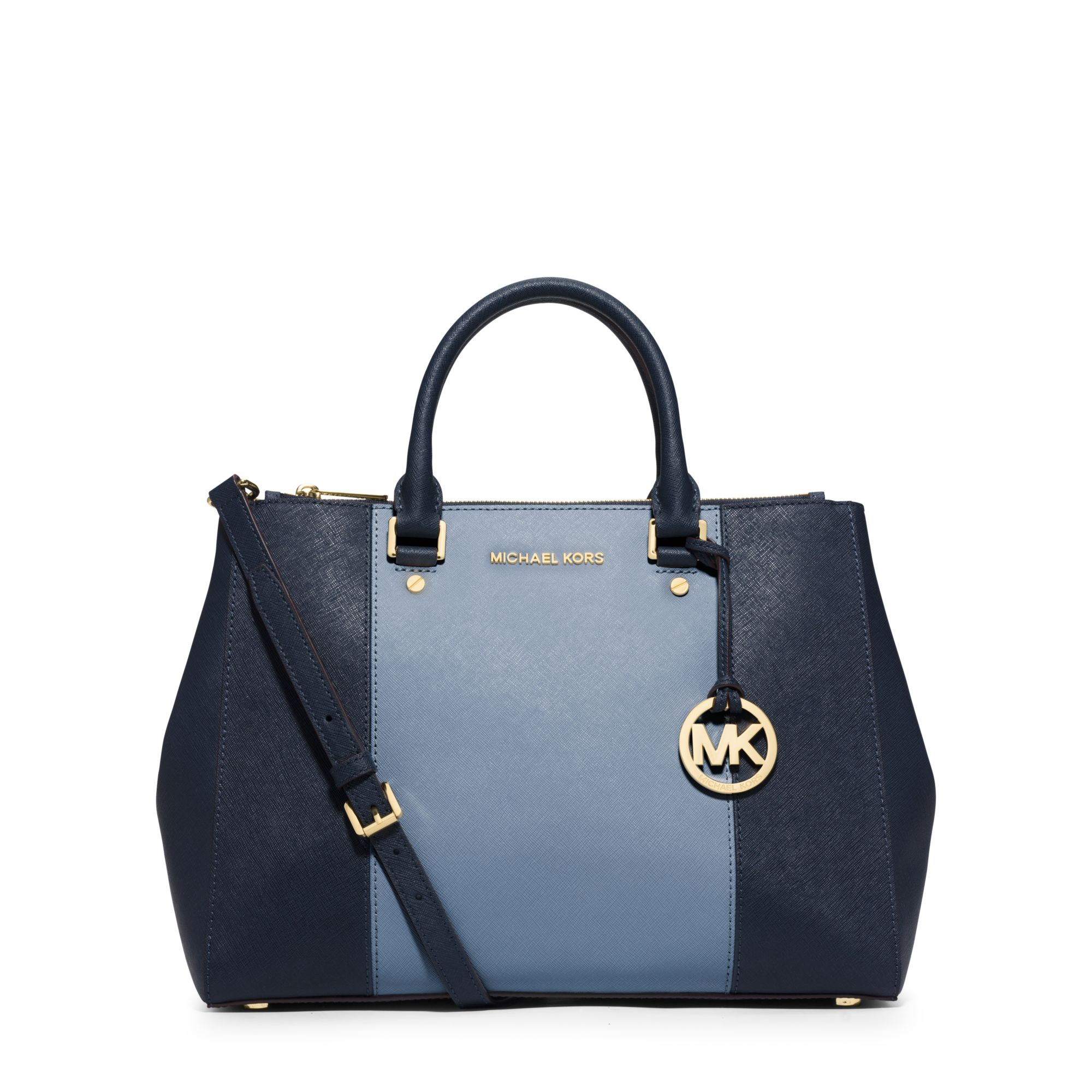 df026d0076b7 Lyst - Michael Kors Sutton Large Color-block Leather Satchel in Blue