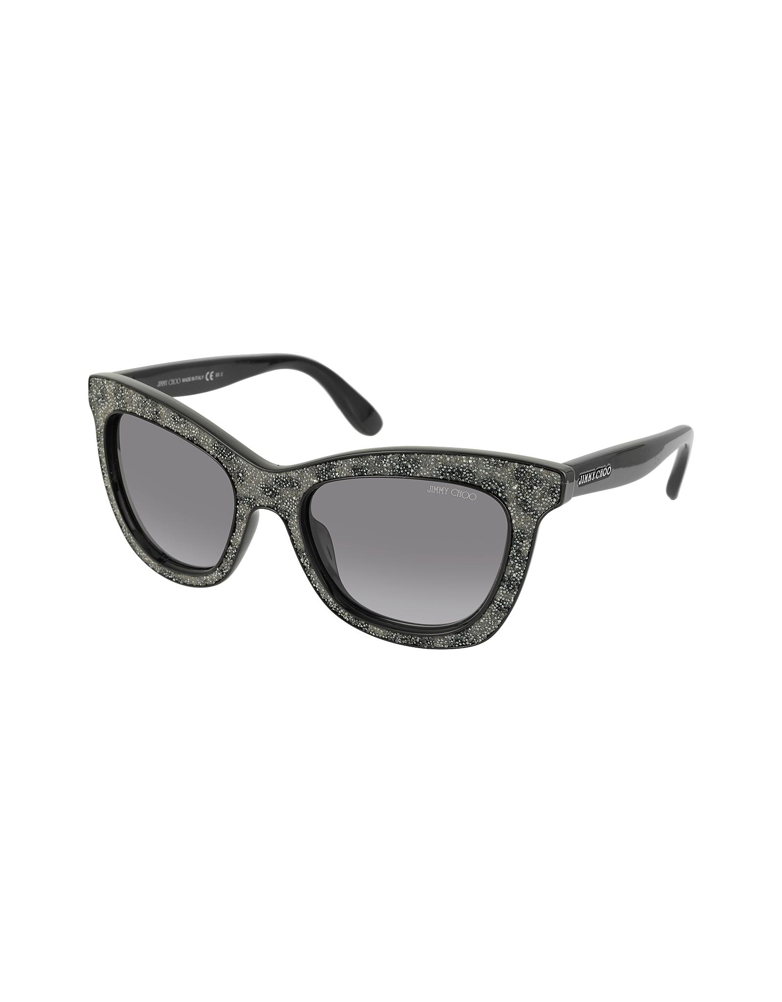 9e5c77835680 Jimmy Choo Flash/s Ibweu Black & Grey Glitter Cat Eye Sunglasses in ...