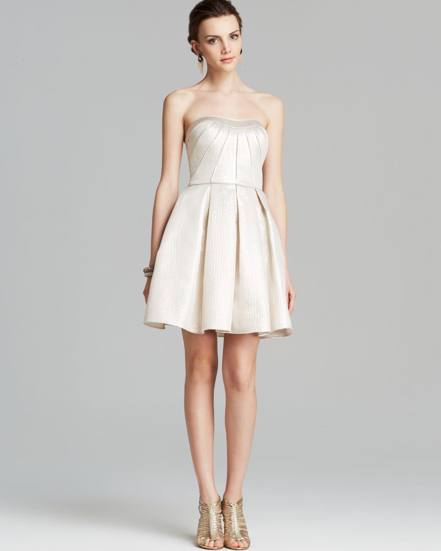 3888c9c23b Lyst - Aidan Mattox Dress - Strapless Metallic Jacquard Fit And ...