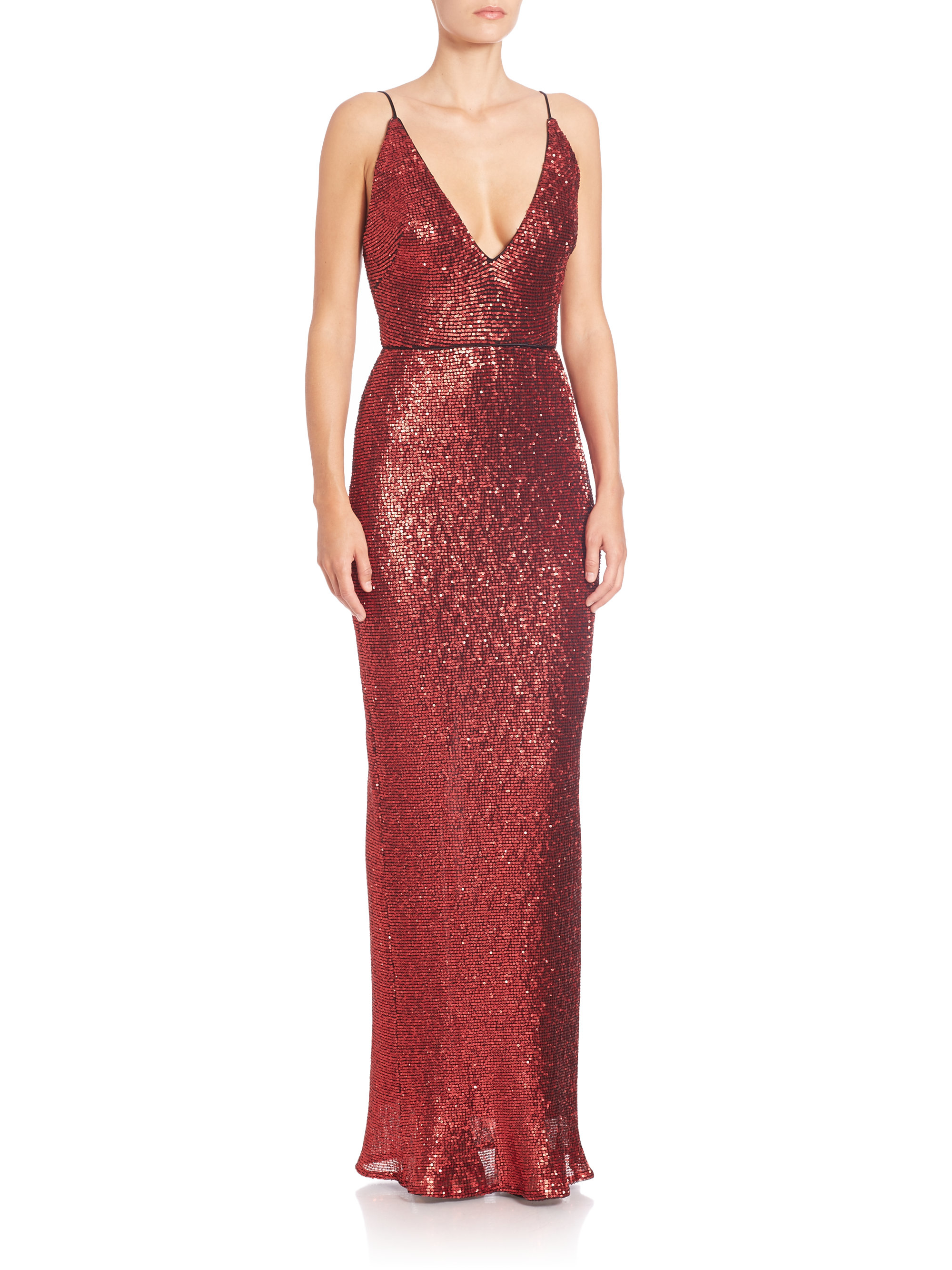 Lyst - Abs By Allen Schwartz Sequined Spaghetti-strap Gown in Red