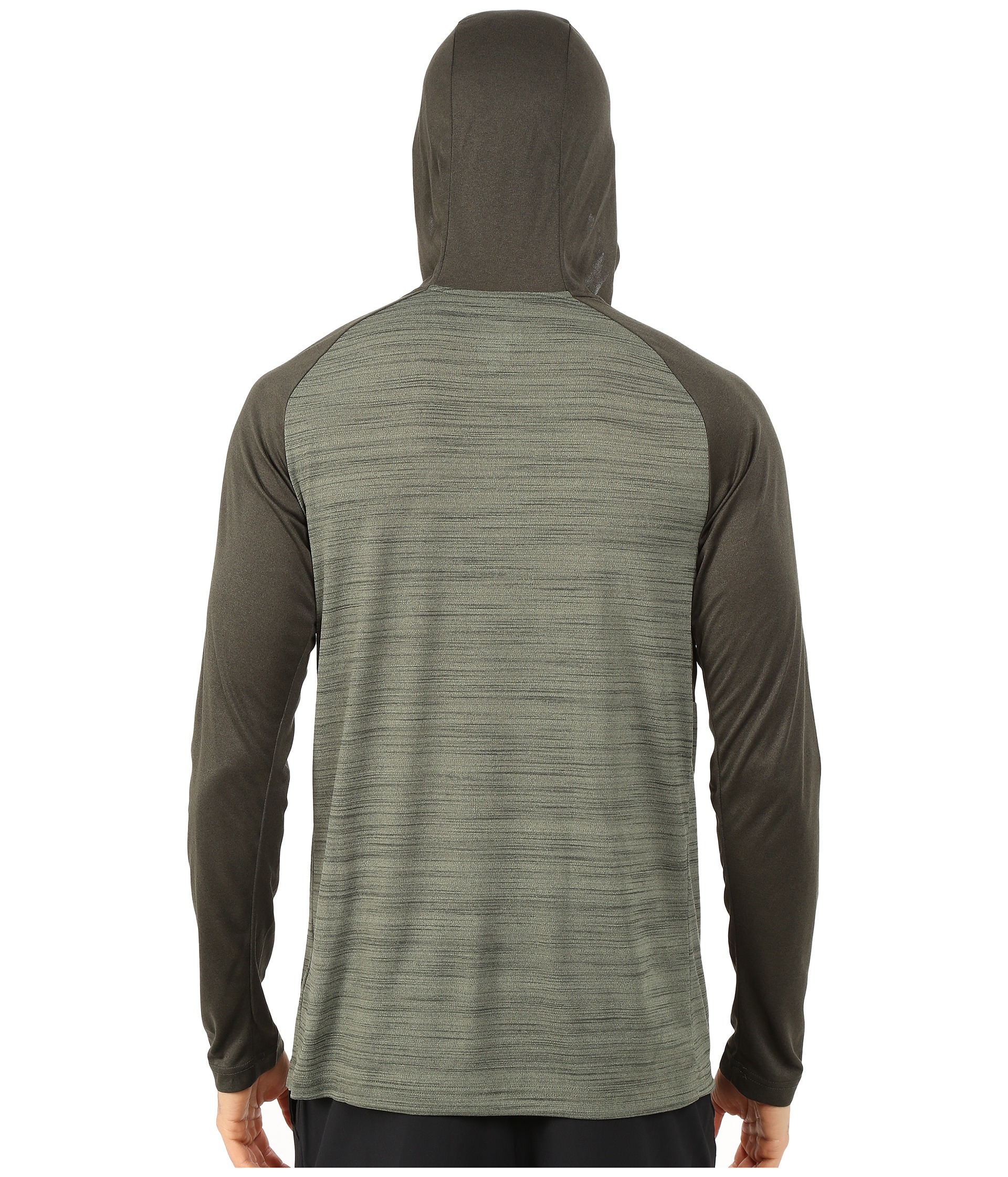 Nike dri fit touch long sleeve hoodie in green for men lyst for Under armour dri fit long sleeve shirts