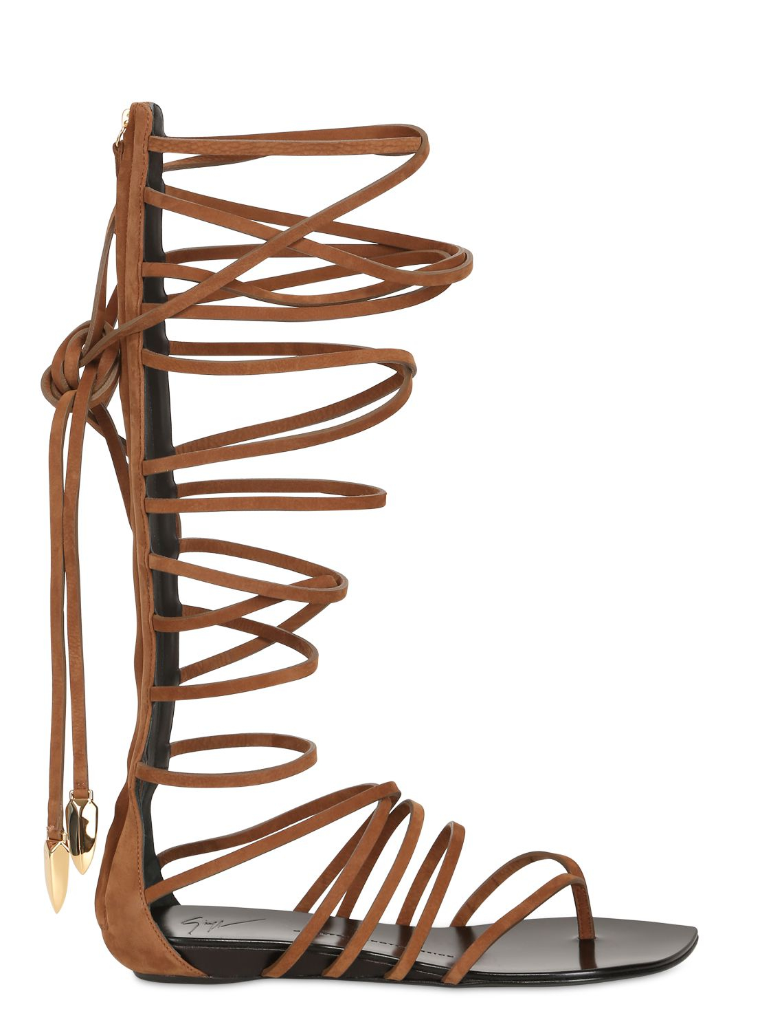 Giuseppe zanotti Lace-Up Leather Gladiator Sandals in Brown | Lyst