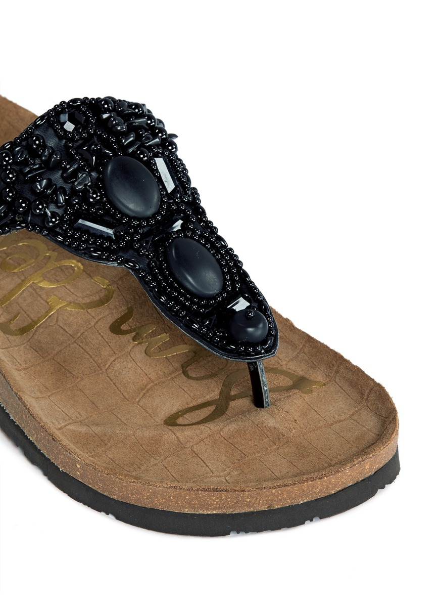 a90f1f4a559d14 Sam Edelman Beaded Sandals.Sam Edelman  gail  Beaded T Strap Flat ...