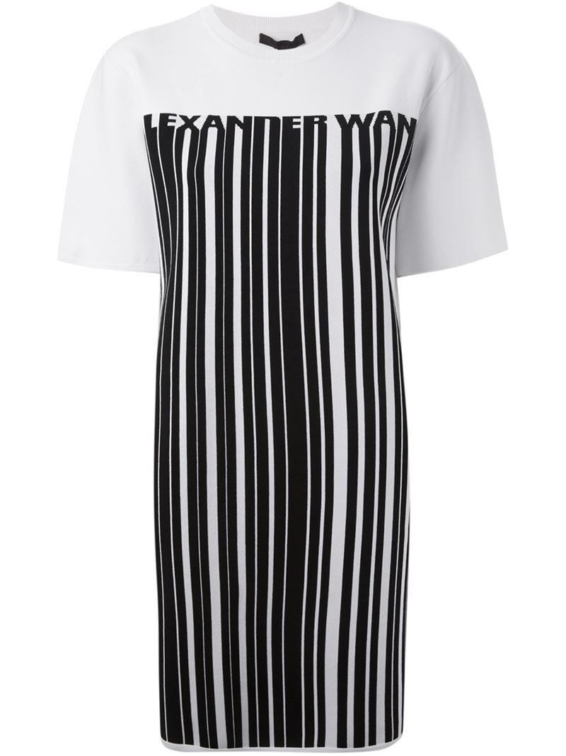 Lyst alexander wang barcode logo t shirt dress in black for Logo t shirt dress