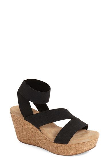 31e3c586e Splendid 'gavin' Elastic Strap Wedge Sandal in Black - Lyst