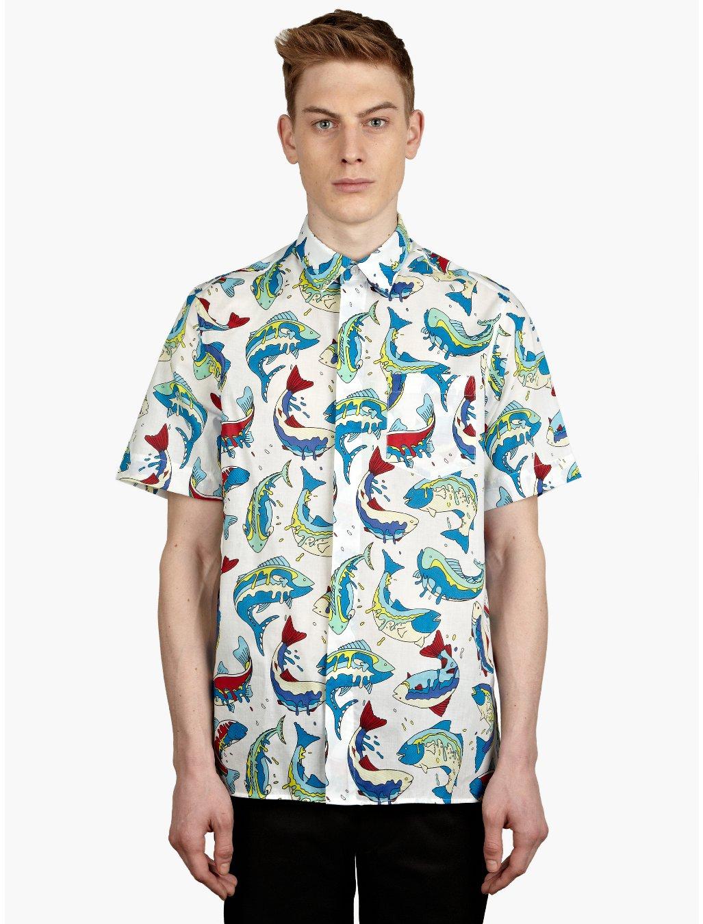 Kenzo mens white fish print shirt in multicolor for men for Fish print shirt