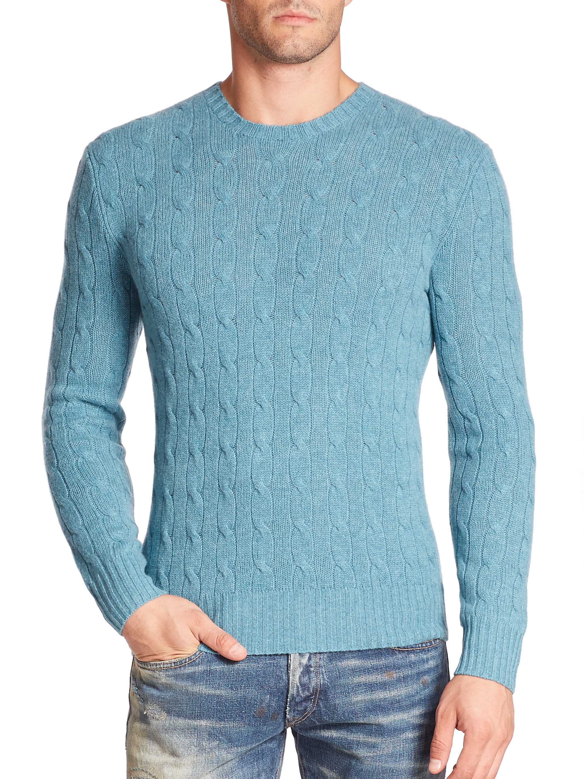 Lyst Polo Ralph Lauren Cable Knit Cashmere Sweater In Blue For Men