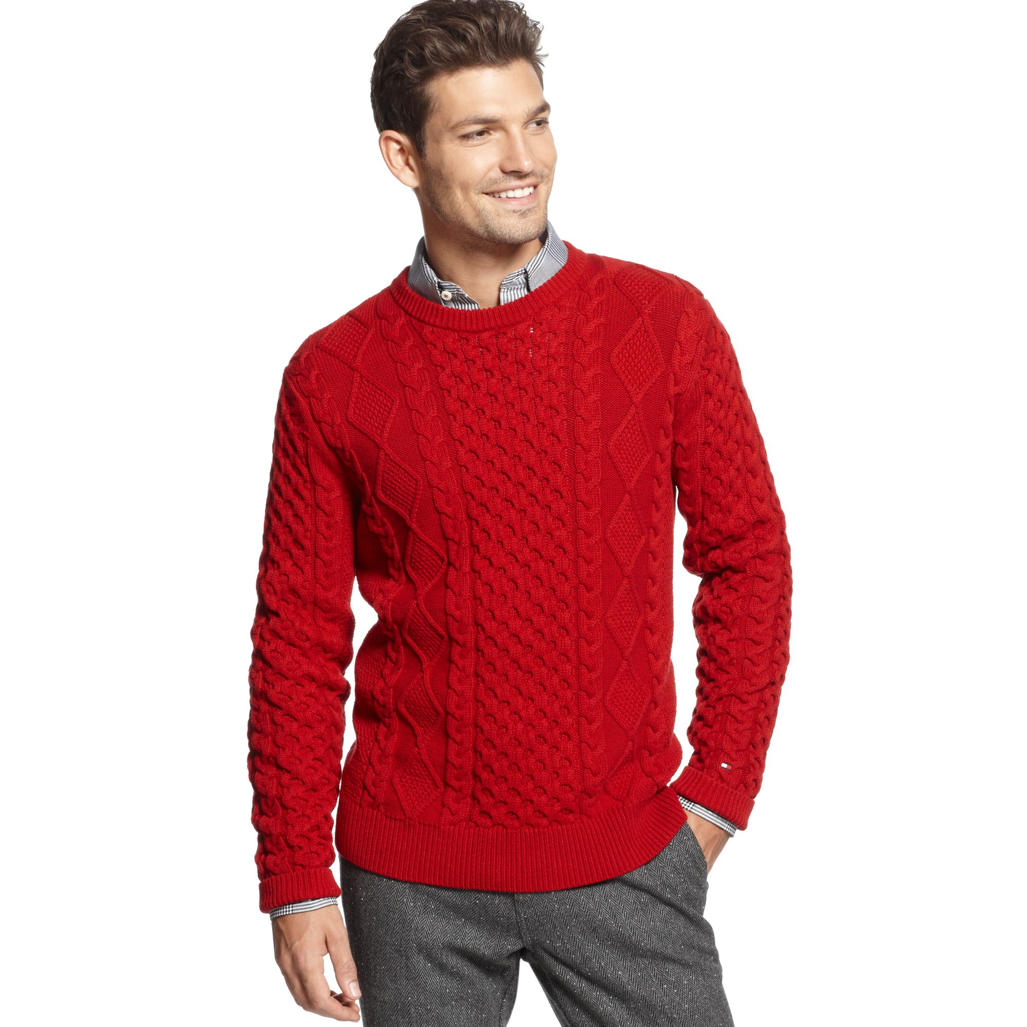 b80f0658f03503 Tommy Hilfiger knitwear crew neck in Red for Men - Lyst