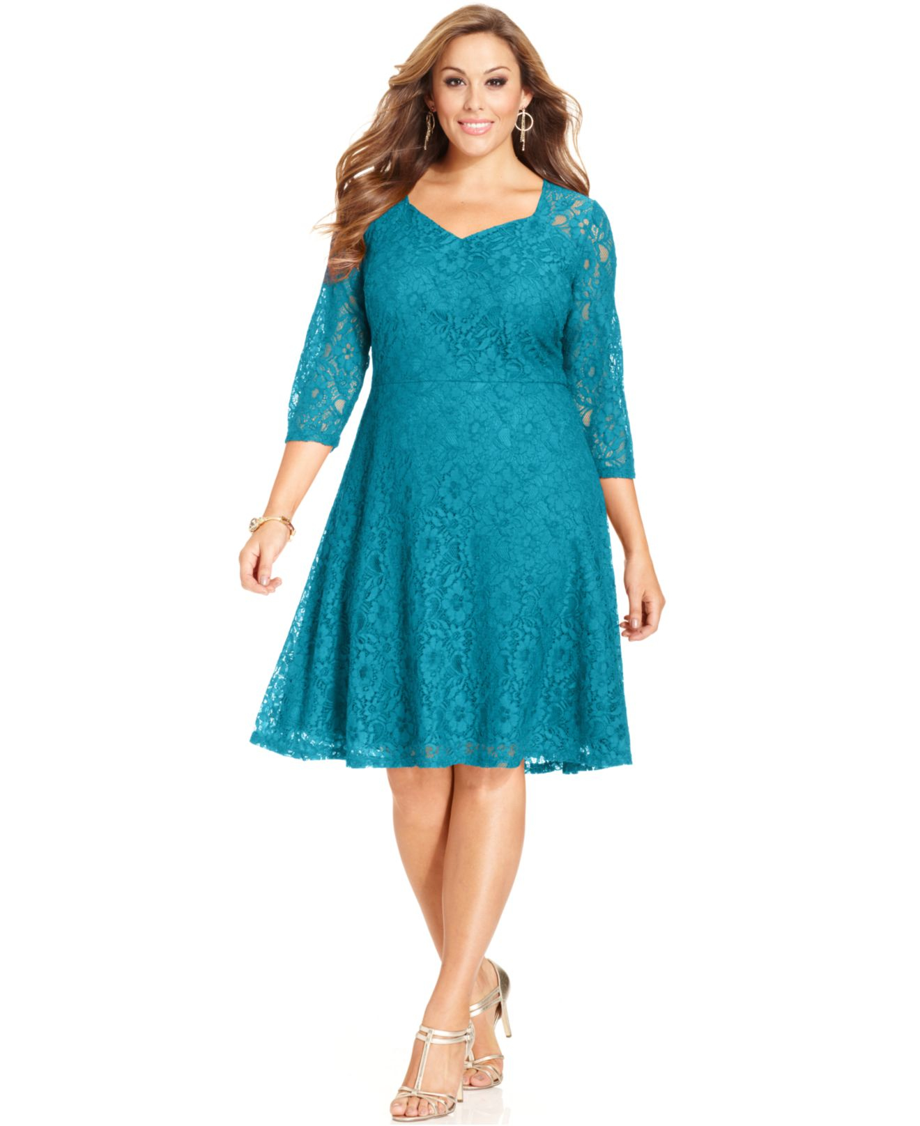 Lyst - Spense Plus Size Three-quarter-sleeve Lace A-line Dress in Blue