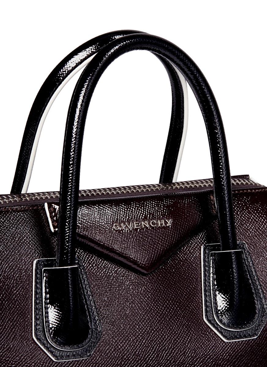 8f9a71dd9082 Lyst - Givenchy  antigona  Small Colourblock Patent Leather Bag in Purple