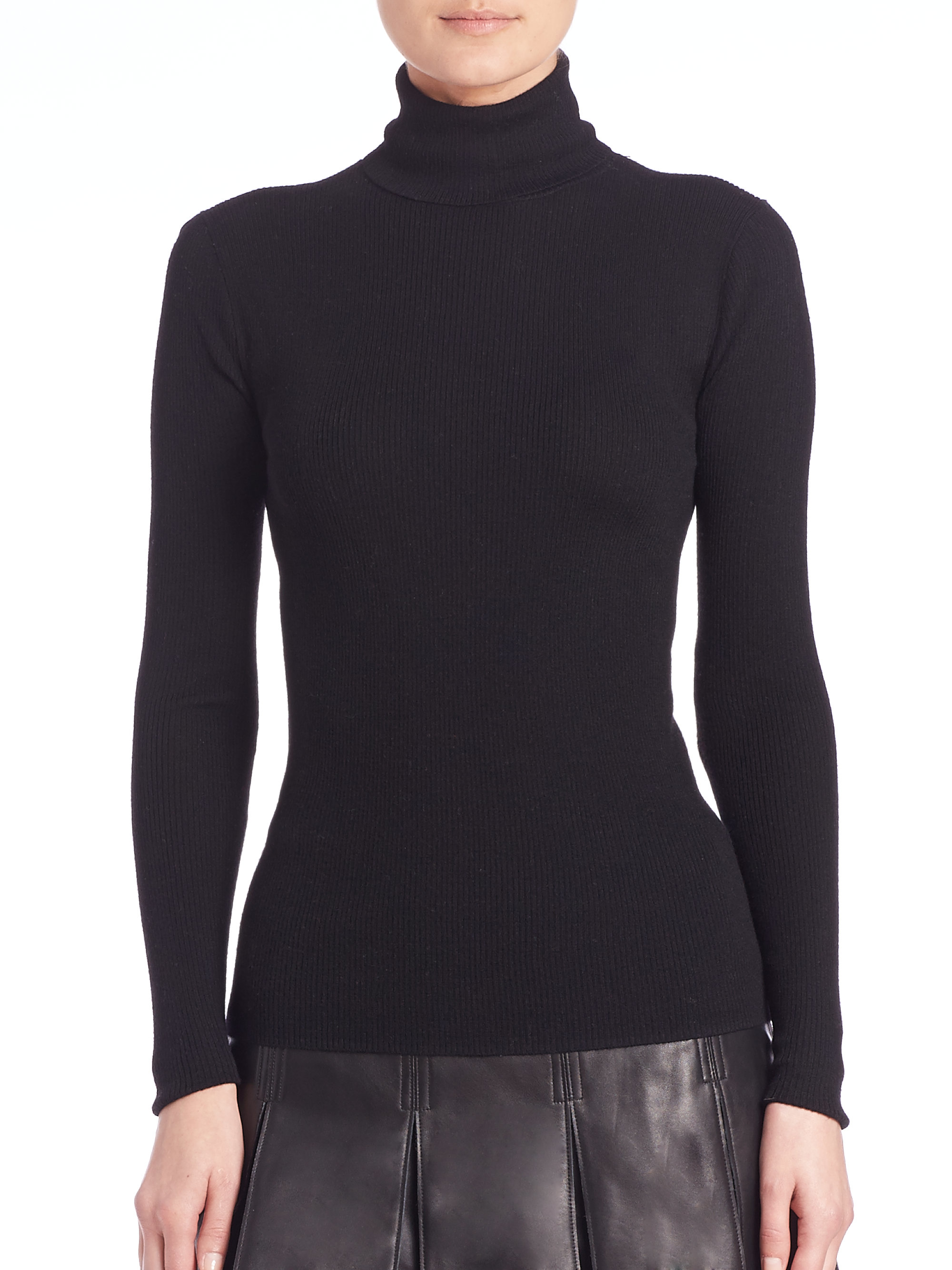 Polo ralph lauren Merino Wool Turtleneck Sweater in Black | Lyst