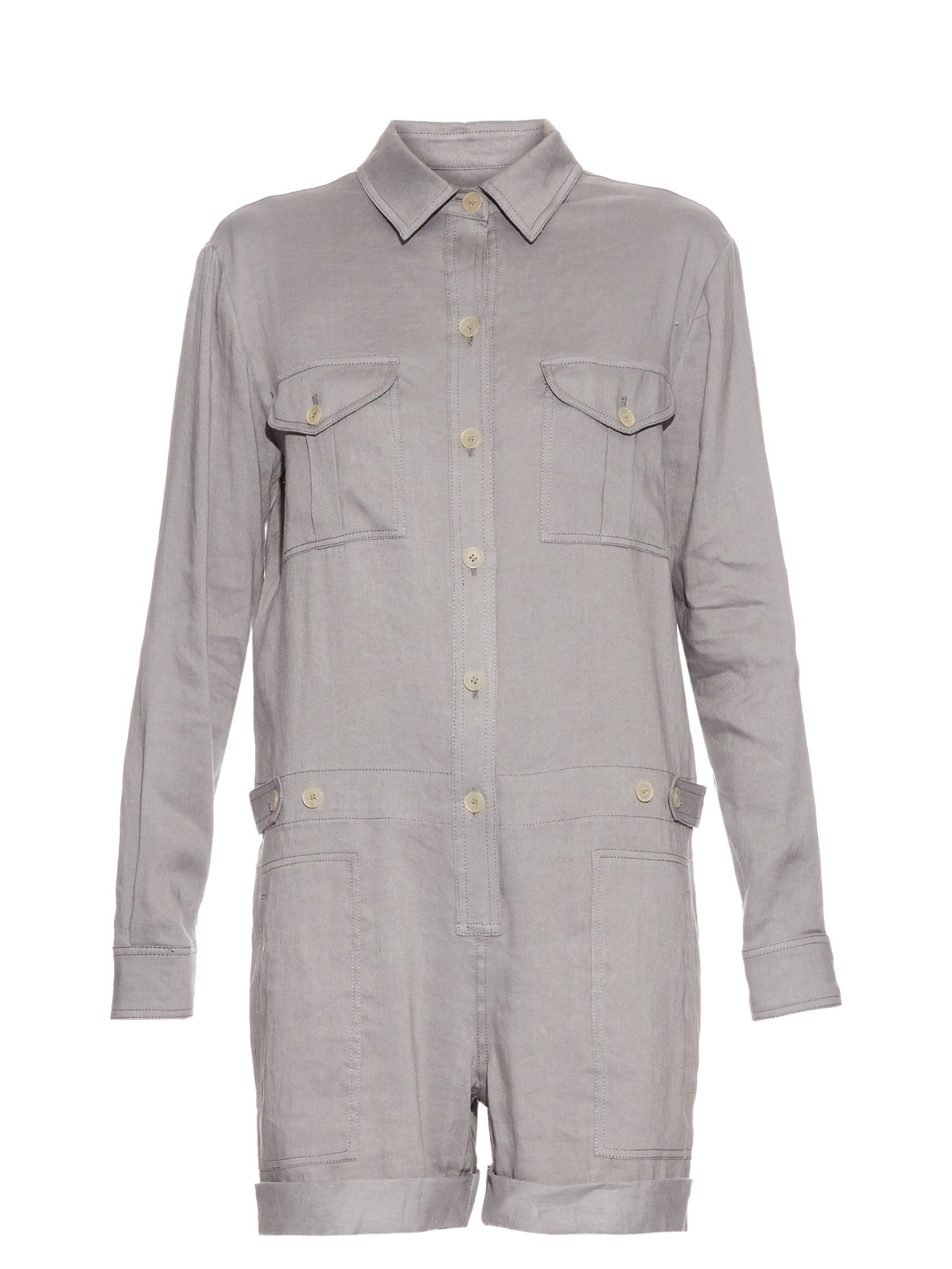 5a650382aac5 Lyst - Vince Long-sleeved Linen-blend Playsuit in Gray