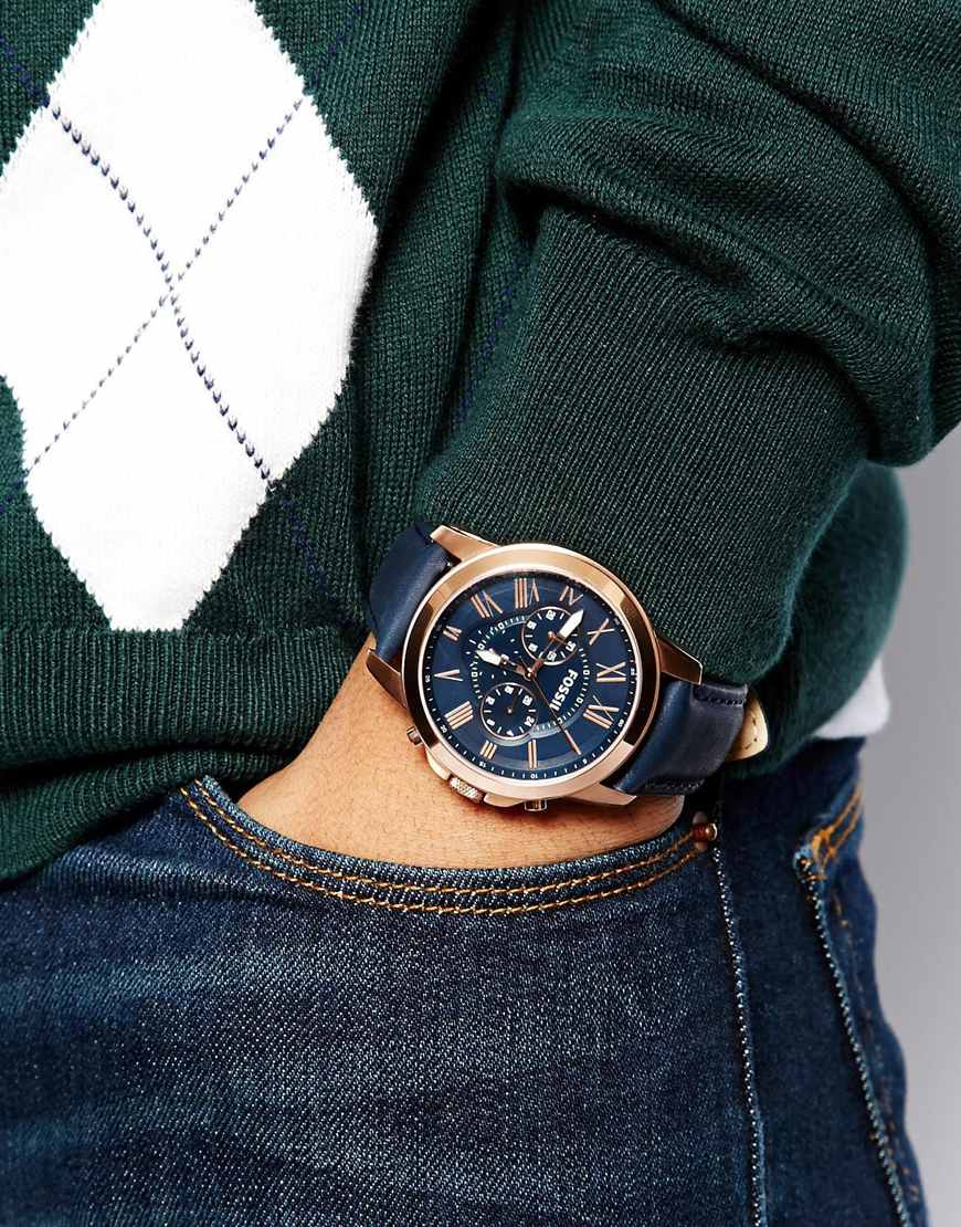 Leather strap chronograph watch fs4835 blue in blue for men lyst
