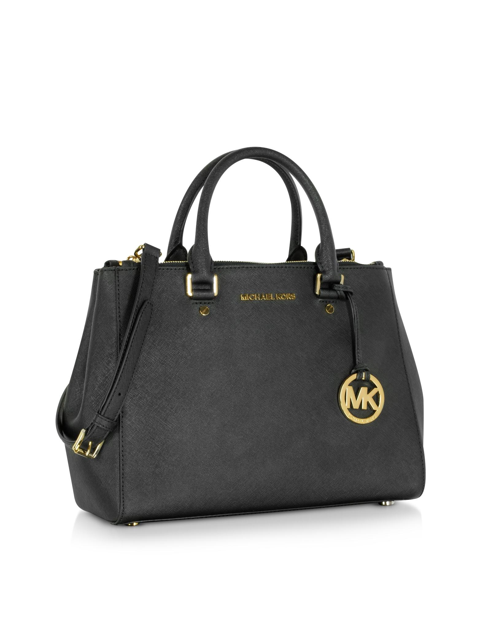 dea93c853a01 Michael Kors Sutton Medium Saffiano Leather Satchel Bag in Black - Lyst