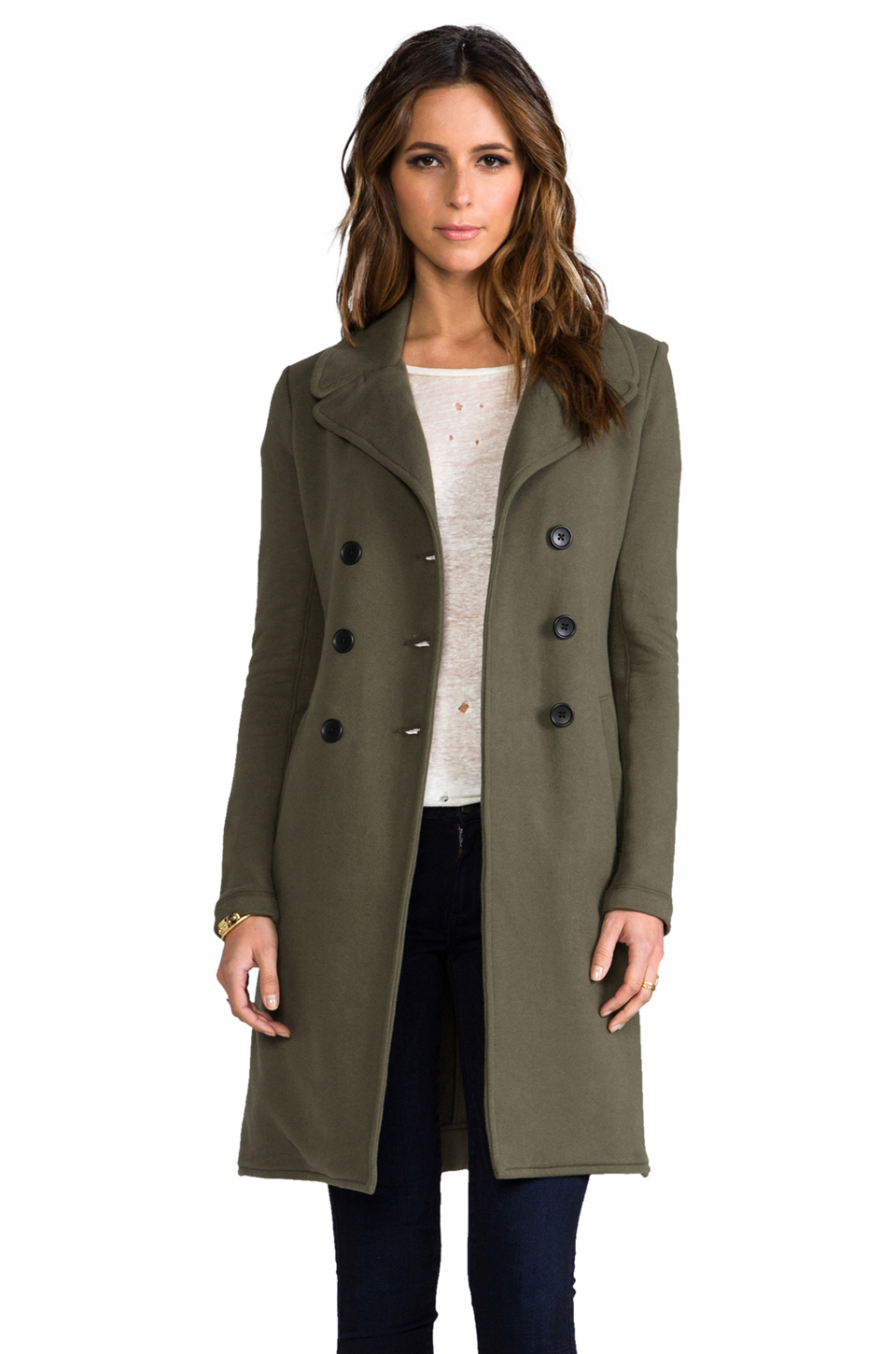 James perse Long Fleece Military Coat in Army in Green | Lyst