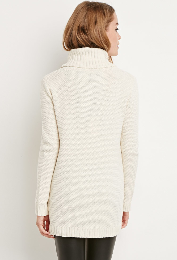 Forever 21 Chunky Knit Turtleneck Sweater in Natural | Lyst
