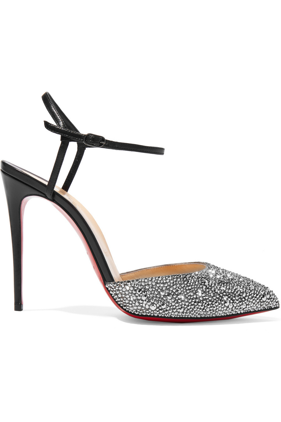Christian louboutin Riverina 100 Crystal-embellished Leather Pumps ...