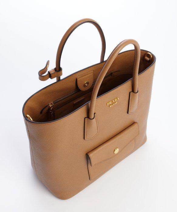 20a519563dda ... new zealand lyst prada carmel saffiano leather shopping tote in brown  6da79 01e70