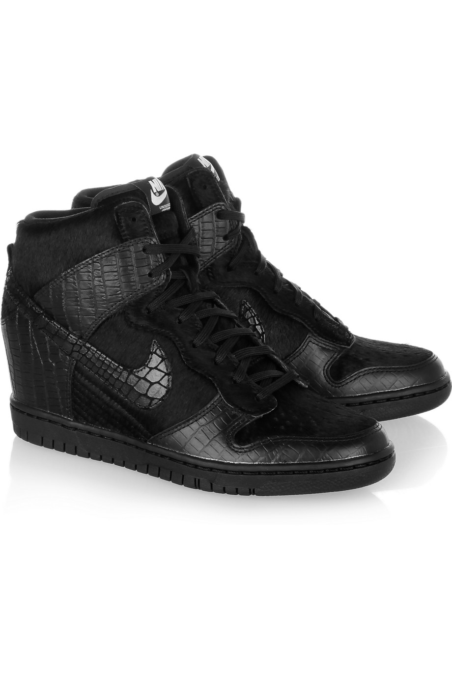 d935d31420ba Lyst - Nike Undercover Dunk Sky Hi Leather and Faux Calf Hair ...