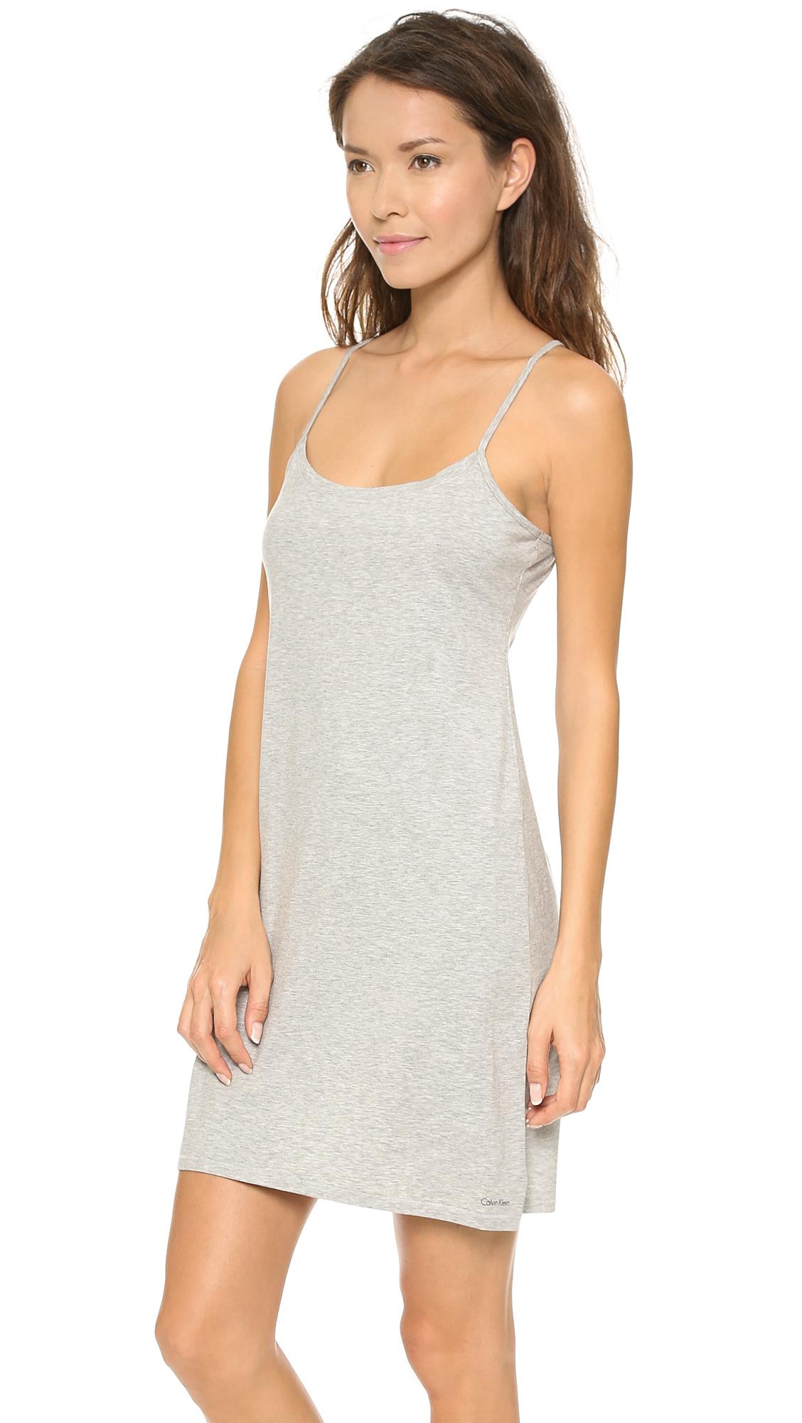 Lyst - Calvin Klein Modern Cotton Night Dress - Grey Heather in Gray e206ba3e6aaf