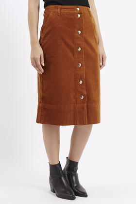 Topshop Tall Cord Button Front Midi Skirt in Brown | Lyst