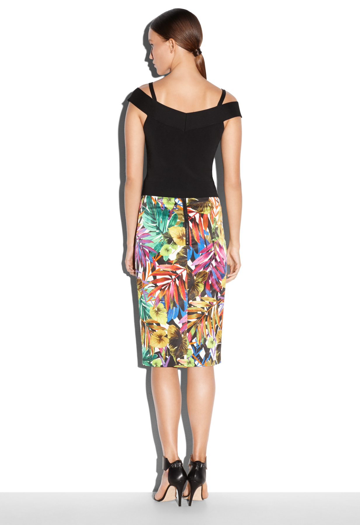 milly tropical print midi skirt lyst