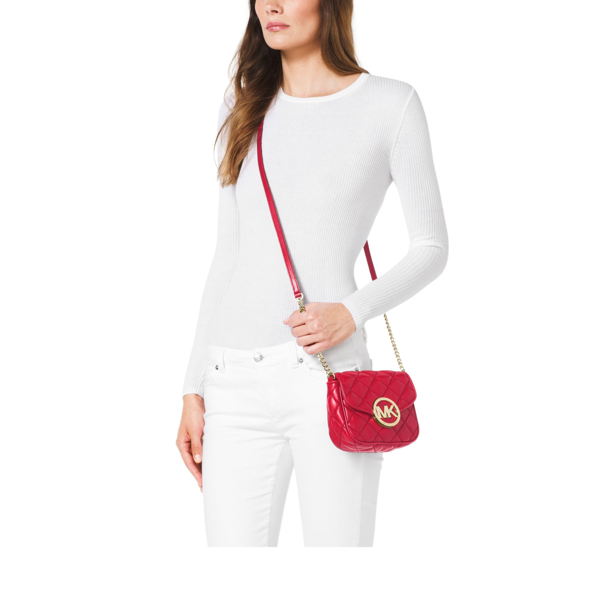 Lyst - Michael kors Fulton Quilted-leather Crossbody in Red : michael kors small fulton quilted crossbody - Adamdwight.com