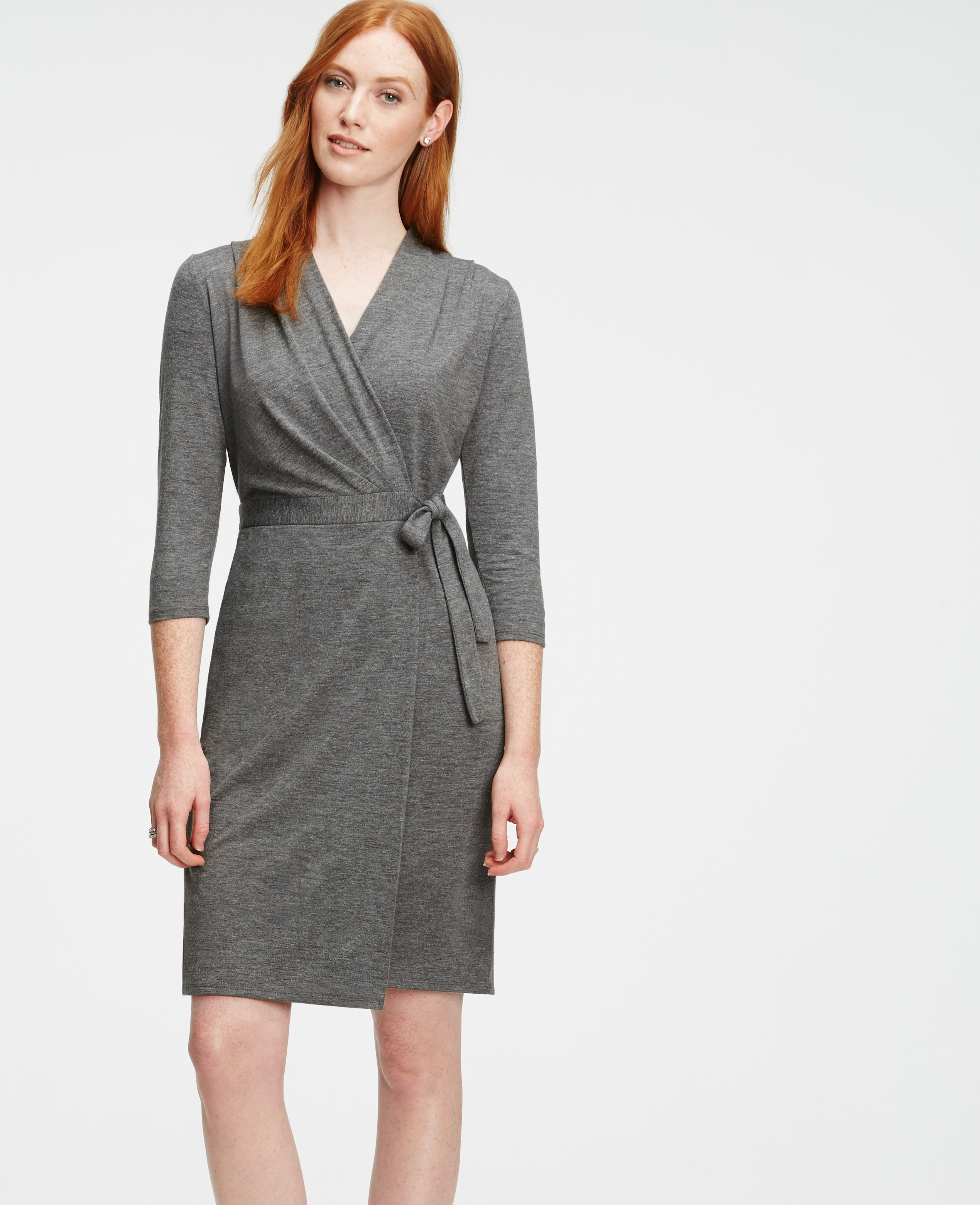 Ann taylor Petite Jersey Wrap Dress in Metallic | Lyst